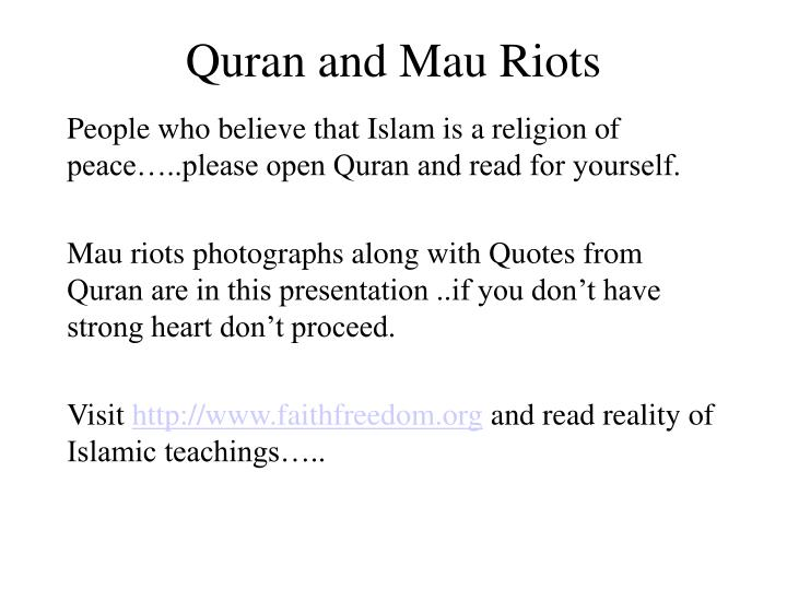 quran and mau riots n.