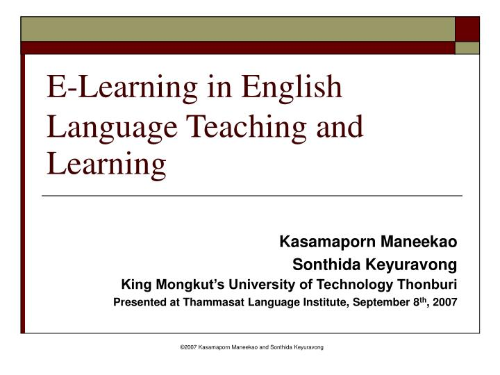 e learning in english language teaching and learning n.