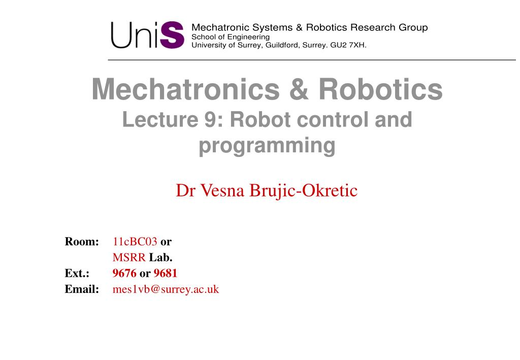 Ppt Mechatronics And Mechanical Technology Address 9 Robot Control And Programming Powerpoint Presentation 16904