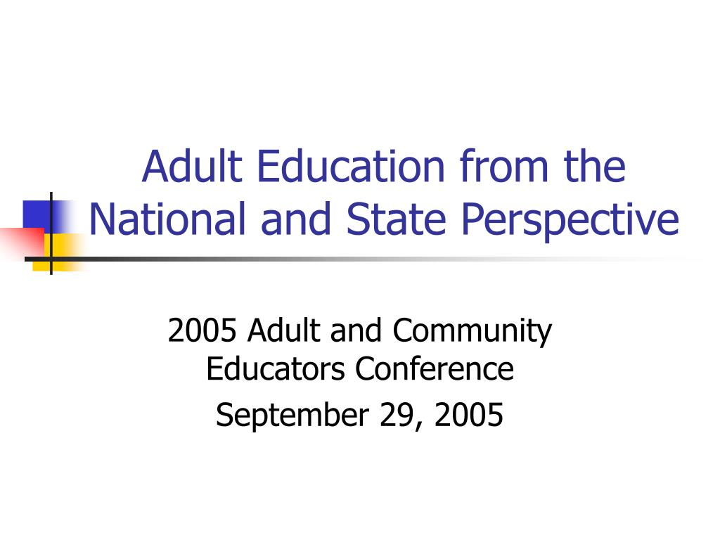 adult education from the national and state perspective l.