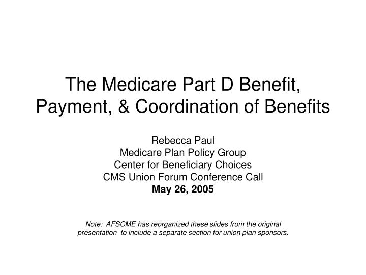the medicare part d benefit payment coordination of benefits n.