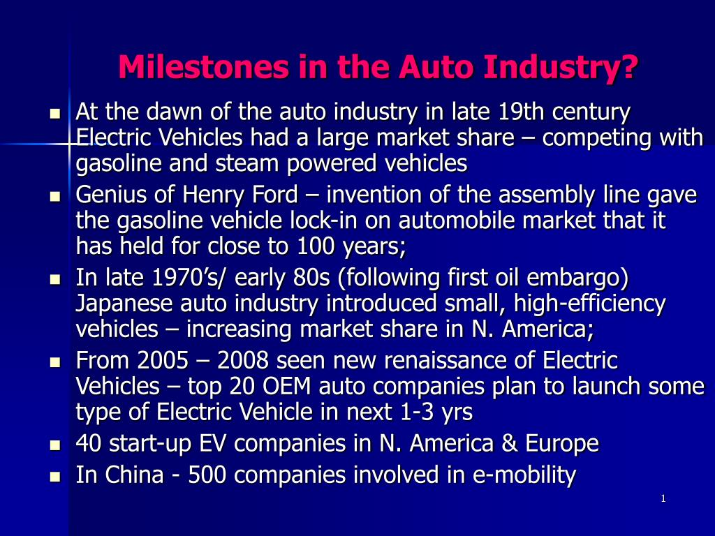 milestones in the auto industry l.