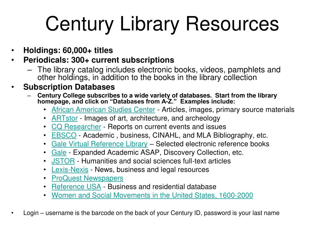 century library resources l.