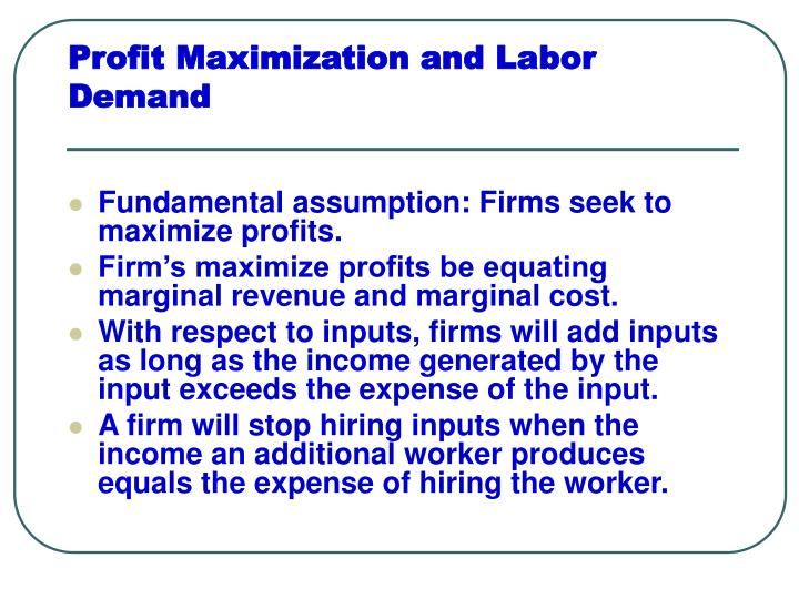 profit maximization and labor demand n.
