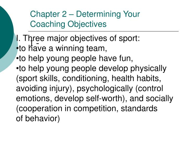 chapter 2 determining your coaching objectives n.