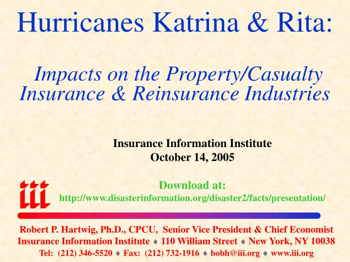 hurricanes katrina rita impacts on the property casualty insurance reinsurance industries n.