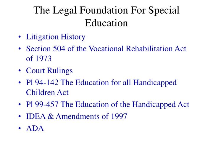the legal foundation for special education n.