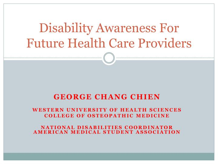 disability awareness for future health care providers n.