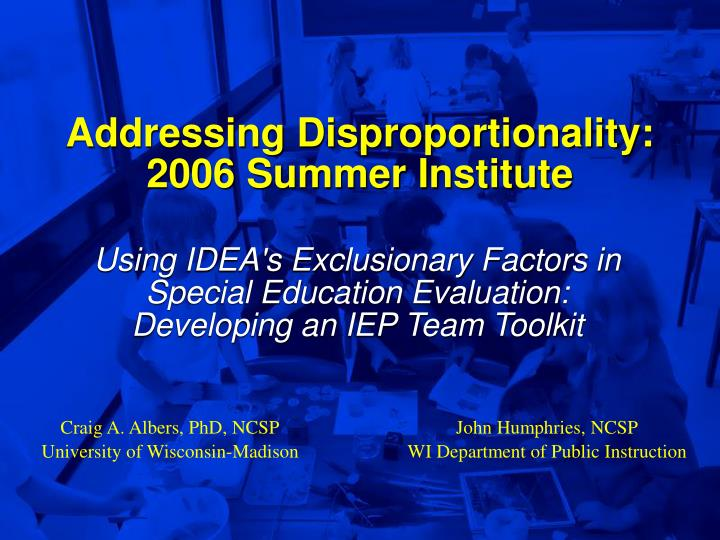addressing disproportionality 2006 summer institute n.