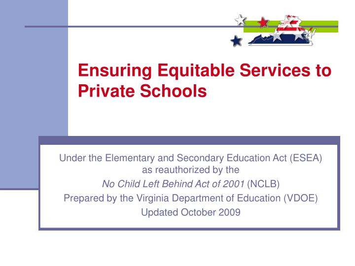 ensuring equitable services to private schools n.