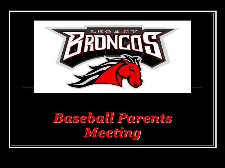 baseball parents meeting n.