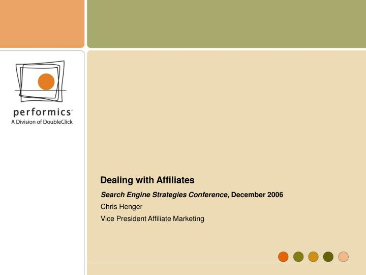 dealing with affiliates n.