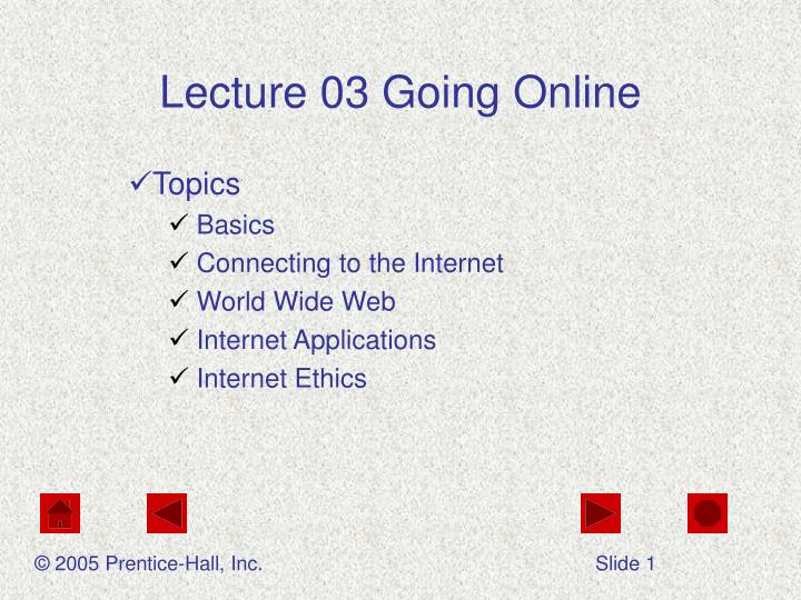 lecture 03 going online n.