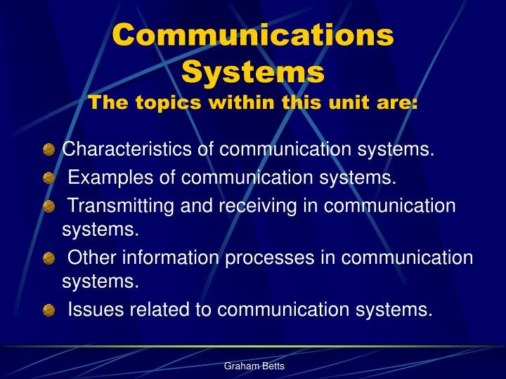 communications systems the topics within this unit are n.