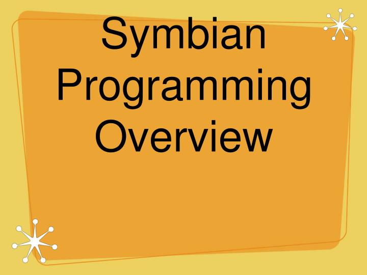 symbian programming overview n.