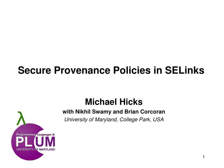 secure provenance policies in selinks n.