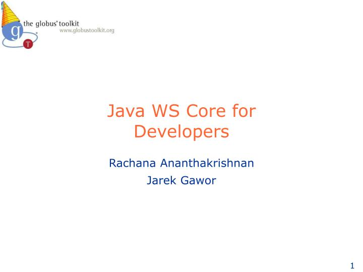 java ws core for developers n.