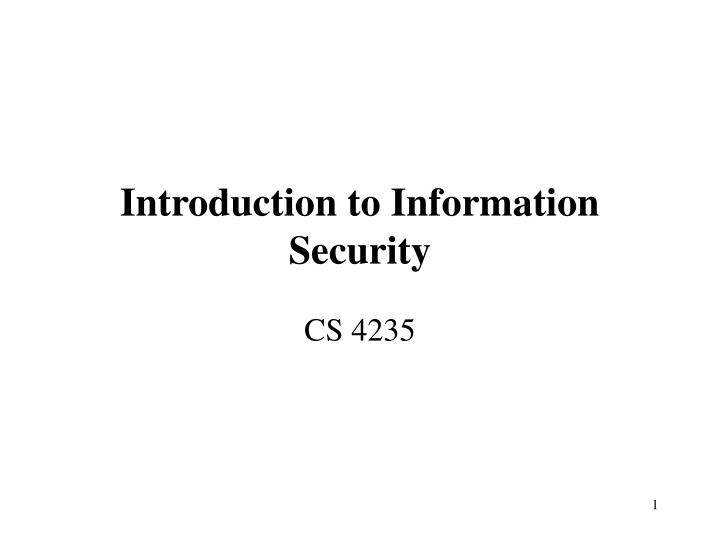 introduction to information security n.