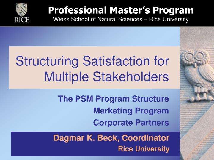 structuring satisfaction for multiple stakeholders n.