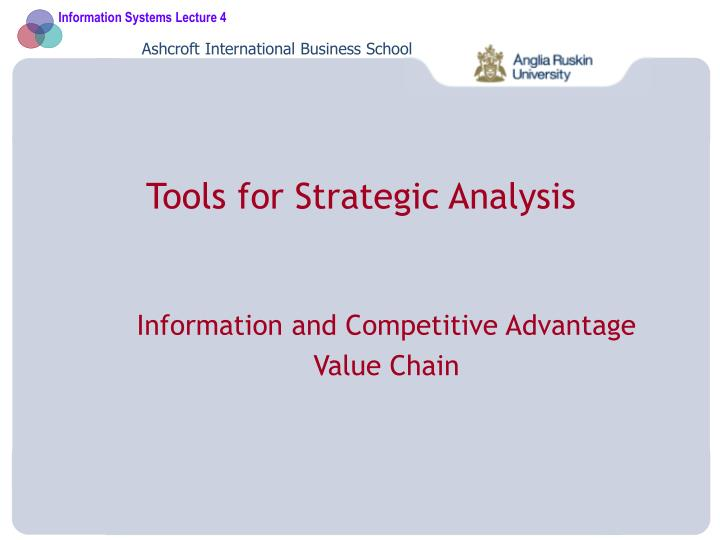 tools for strategic analysis n.