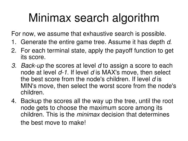 minimax search algorithm n.