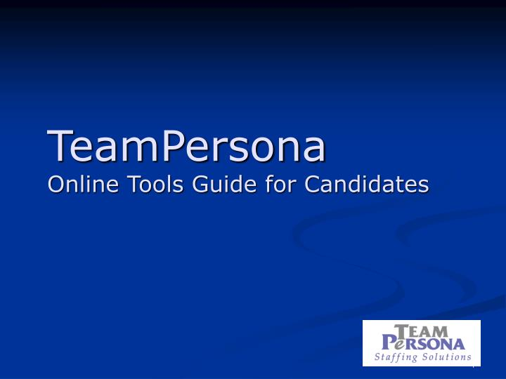 teampersona online tools guide for candidates n.