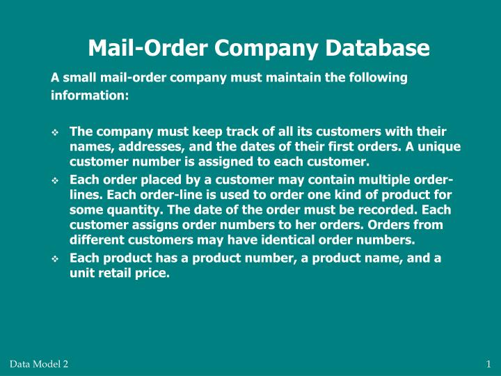 mail order company database n.