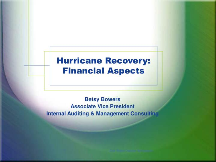 hurricane recovery financial aspects n.