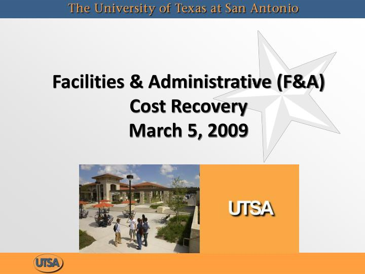 facilities administrative f a cost recovery march 5 2009 n.