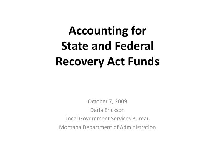 accounting for state and federal recovery act funds n.