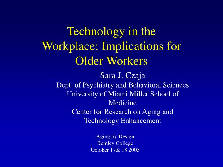 technology in the workplace implications for older workers n.
