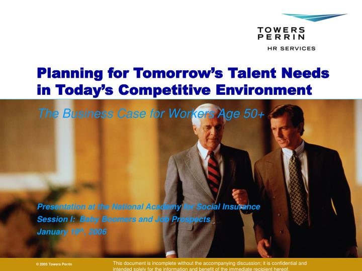 planning for tomorrow s talent needs in today s competitive environment n.