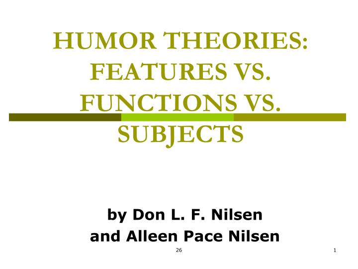 humor theories features vs functions vs subjects n.