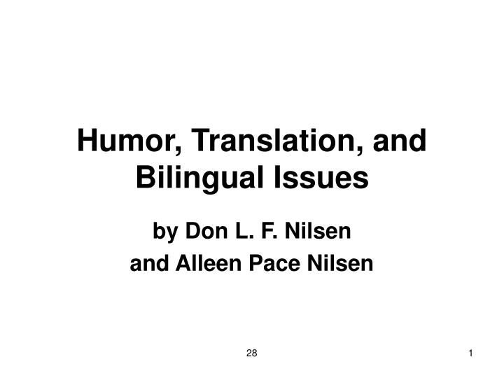 humor translation and bilingual issues n.
