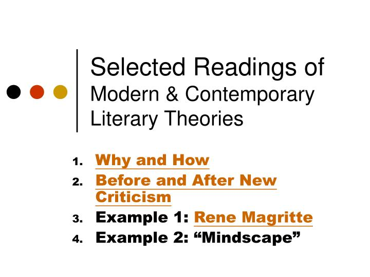 selected readings of modern contemporary literary theories n.