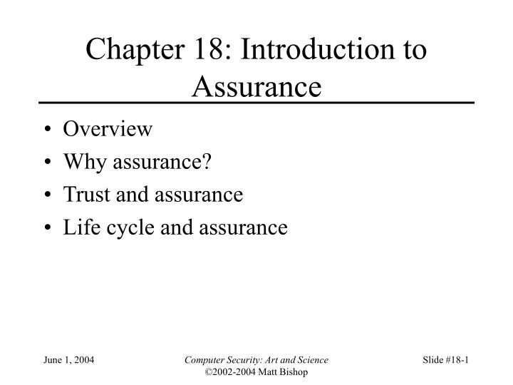 chapter 18 introduction to assurance n.