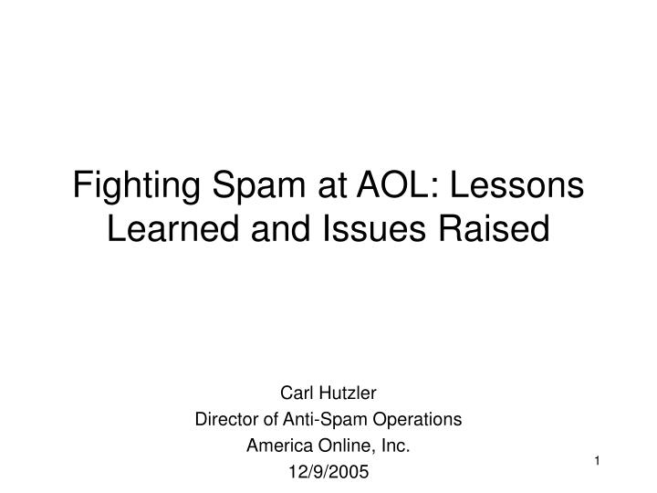 fighting spam at aol lessons learned and issues raised n.