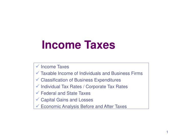 income taxes n.