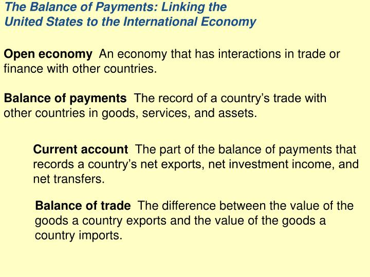 the balance of payments linking the united states to the international economy n.