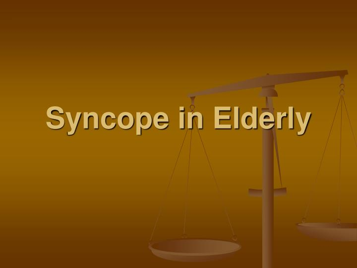 syncope in elderly n.