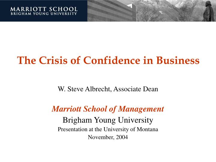 the crisis of confidence in business n.