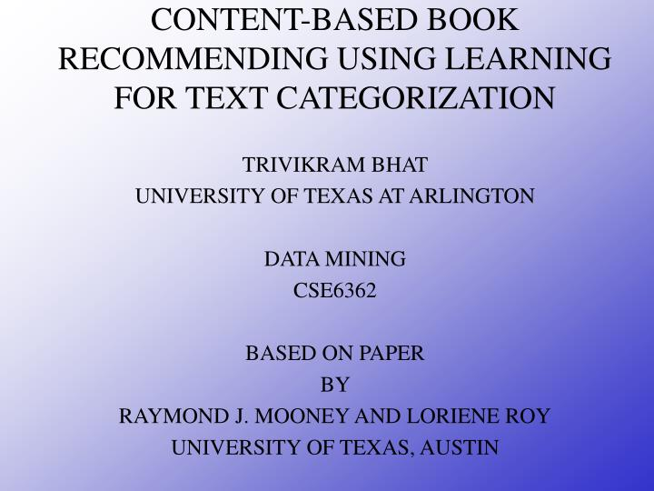 content based book recommending using learning for text categorization n.