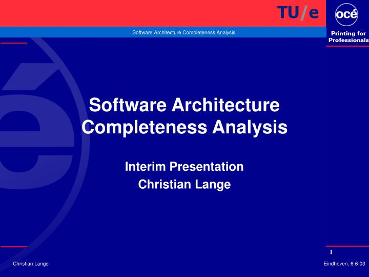 software architecture completeness analysis n.