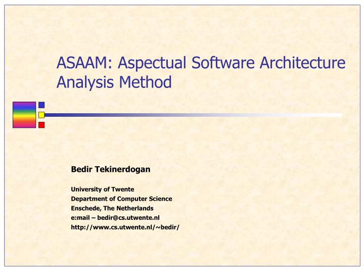 asaam aspectual software architecture analysis method n.