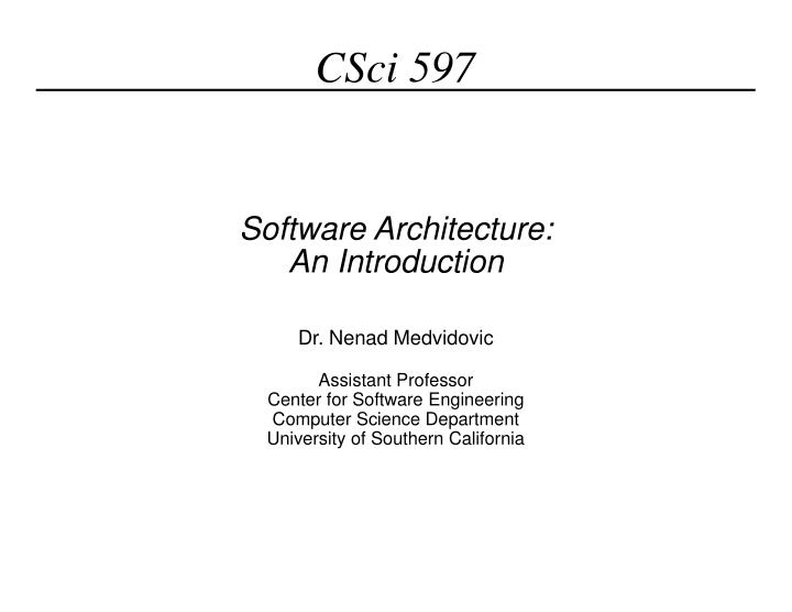software architecture an introduction n.