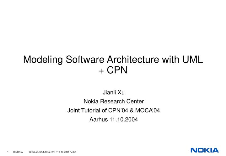 modeling software architecture with uml cpn n.