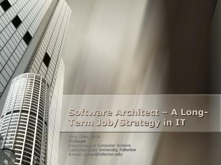 software architect a long term job strategy in it n.