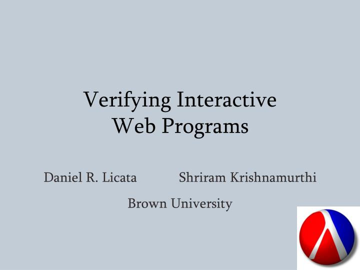 verifying interactive web programs n.