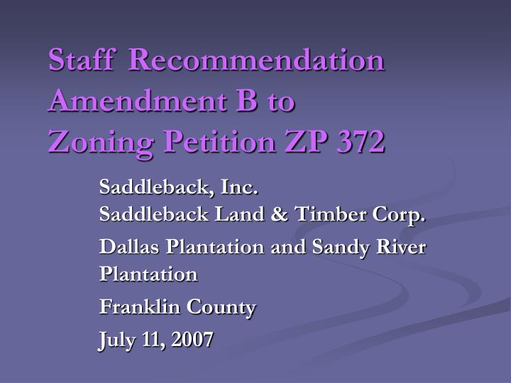 staff recommendation amendment b to zoning petition zp 372 n.