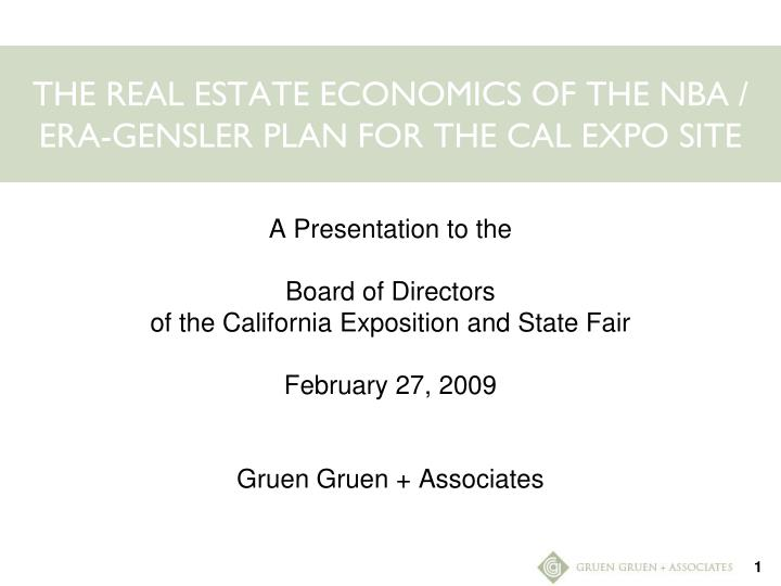 the real estate economics of the nba era gensler plan for the cal expo site n.